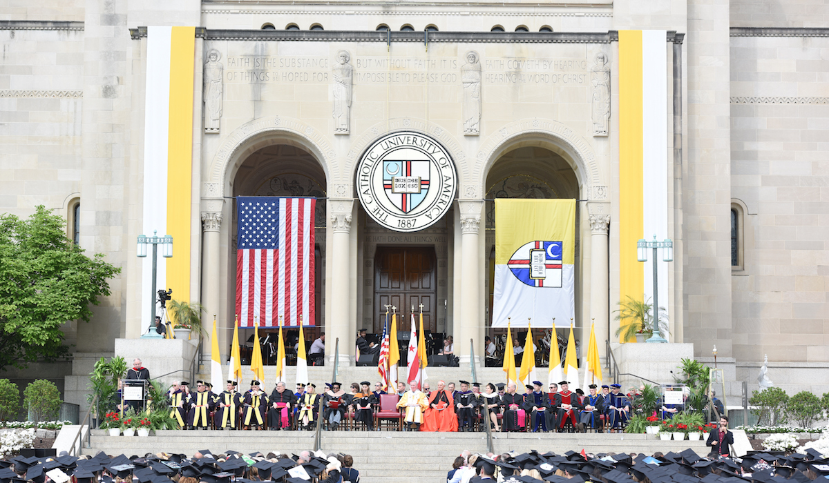 East entrance to the Basilica during Commencement